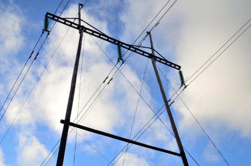 Power lines and sky stock images
