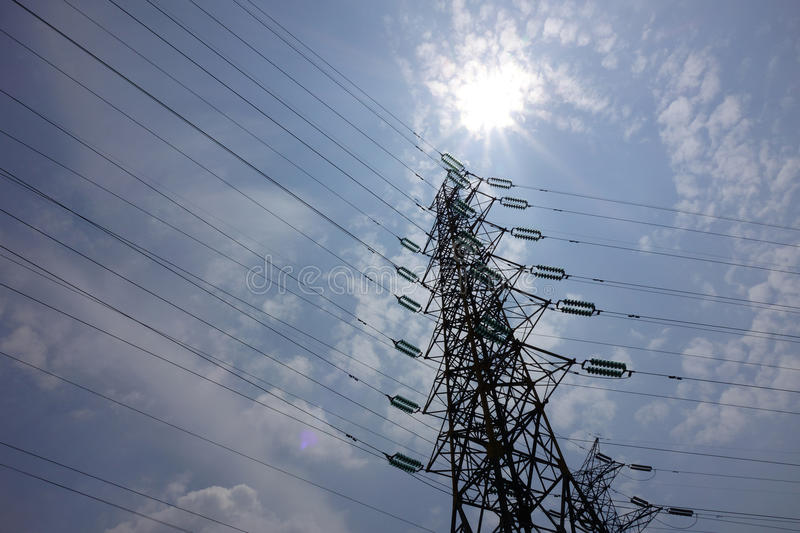 Power lines. Under sky in the city royalty free stock photography