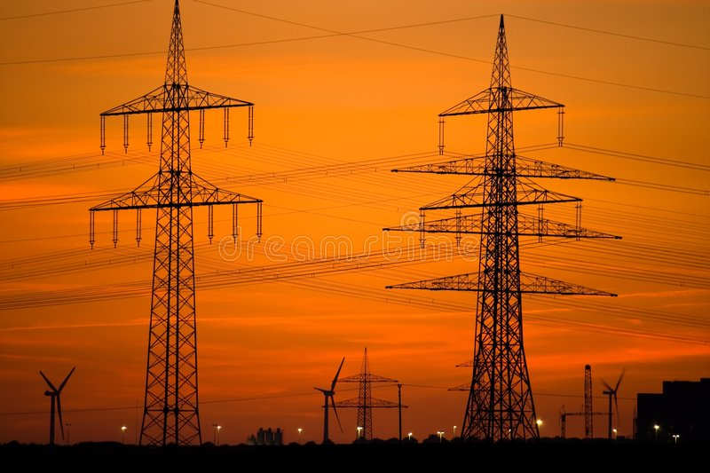 Download Power Lines And Wind Turbines Stock Image - Image of skyline, environment: 6543039