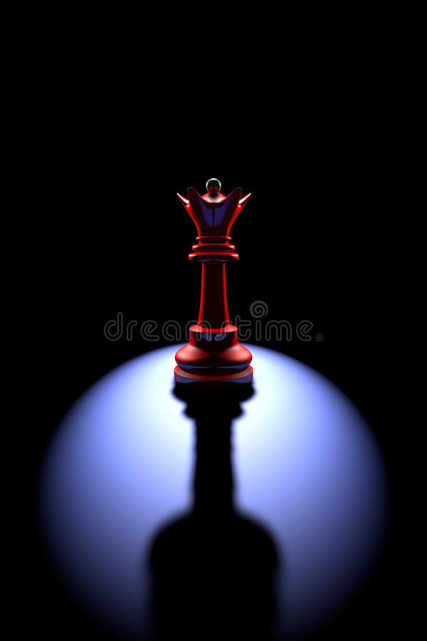 Power and loneliness.The most powerful chess piece (queen - a wi. Red queen (silhouette) on a dark background art. Backlight and deep shadow stock illustration