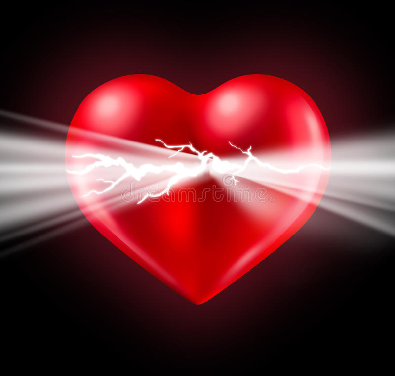 Power Of Love. Power of human love and Euphoria with intense feelings and the energy of romantic emotions emerging and bursting from a glowing red heart shaped vector illustration