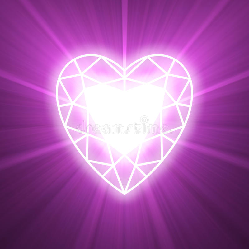 Power of love heart glowing flare royalty free illustration