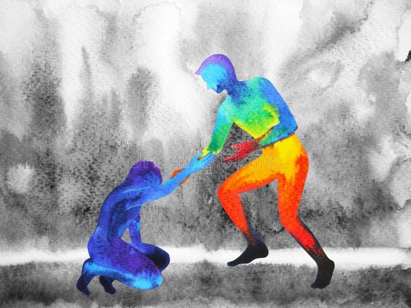 Power man give hand help sad man, love universe powerful vector illustration