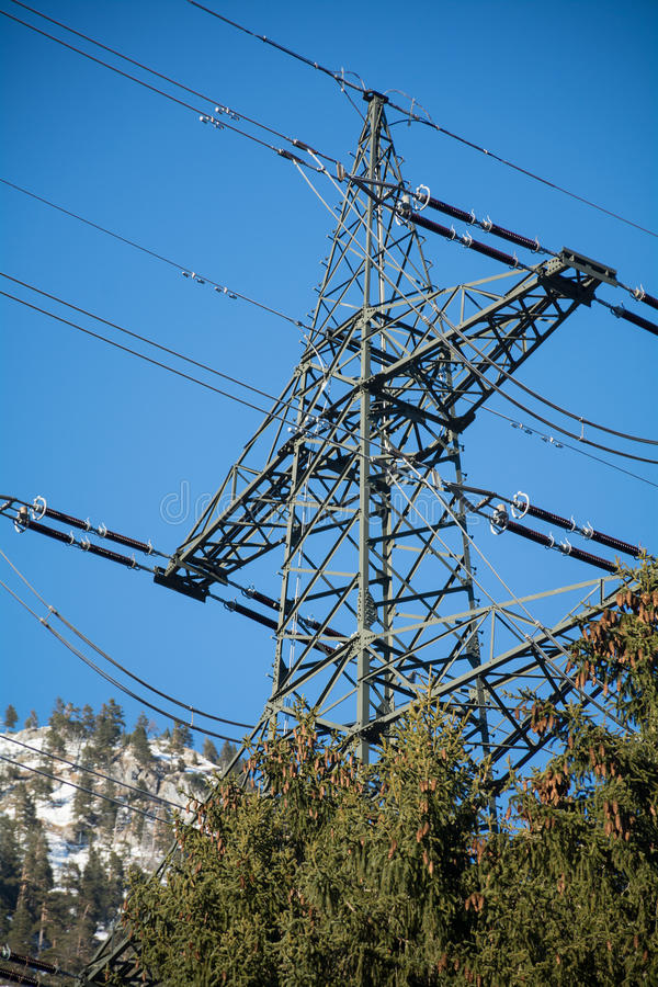 Power mast of a high voltage transmission line stock photography