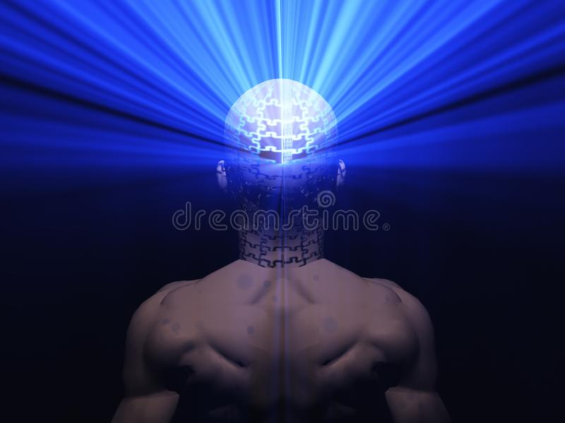 Power of Mind. Rays of light comes out human head. Human elements were created with 3D software and are not from any actual human likenesses vector illustration