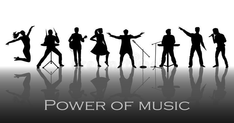 Power of music concept. Set of black silhouettes of musicians, singers and dancers. Vector illustration stock illustration