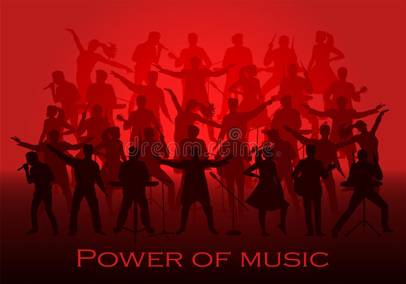 Power of music concept. Set of silhouettes of musicians, singers and dancers. Vector illustration stock illustration