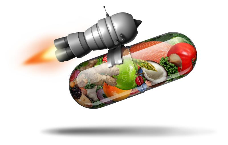 Power Natural Supplement. Power natural vitamin supplement and healthy nutrition pill as a natural powerful fitness nutrient capsule with a rocket jet engine vector illustration