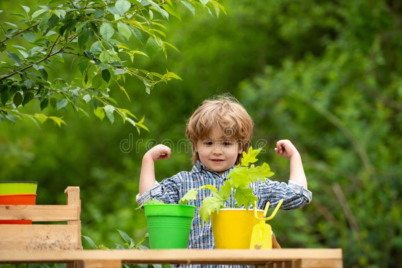 Power of nature. Beautiful boy in the garden. Farm and eco-friendly clean products. Environment. Ecology and subsistence royalty free stock photography