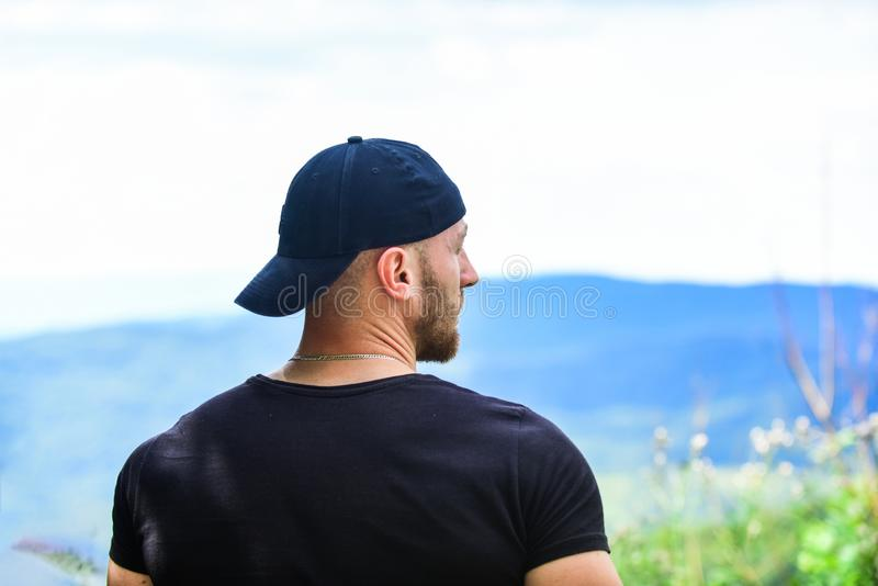 Power of nature. Discover world. Masculinity and male energy. Man muscular bodybuilder mountain landscape background. Natural power. Masculine power. Tourist stock photos