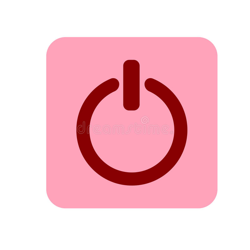 Power on off button sign icon, vector illustration. Flat design style. Pink and red icon. Power on off icon illustration. Pink and red icon vector illustration
