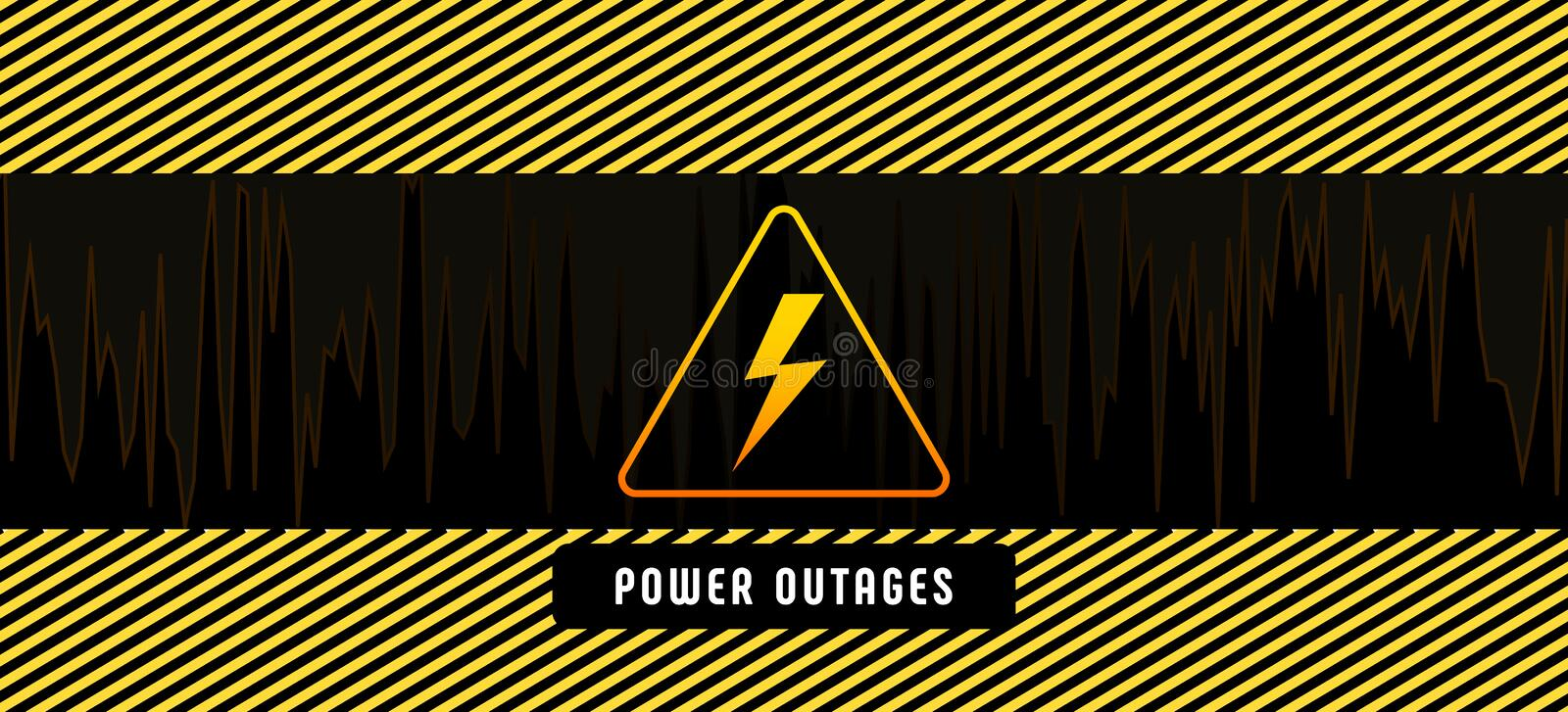 Power outage, poster with warning lines and yellow triangular caution icon on black background. royalty free illustration