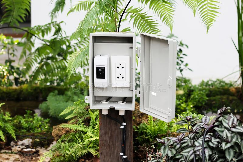 Download The Power Outlet In The Protection Box With Stand Outside At The  Stock Photo