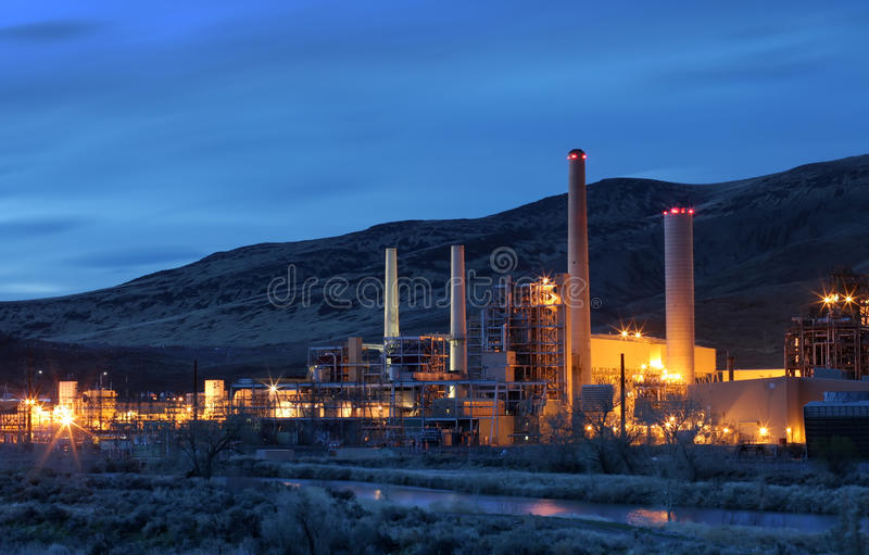Power Plant. Early morning shot of a power plant in Reno, Nevada royalty free stock photography