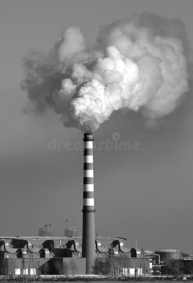 Power plant chimney stock photography