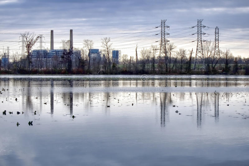 Power Plant and Electric Transmission Power Lines royalty free stock images