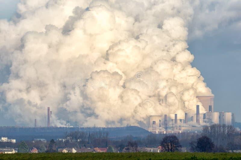 Power plant emission. Brown coal power plant emission stock image