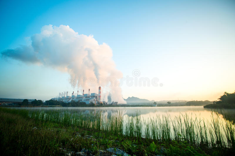 Power plant factory. With blue sky ,Thailand stock photography