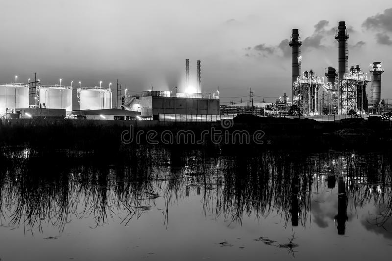 Power plant - factory at twilight. Twilight photo of power plant - factory royalty free stock image