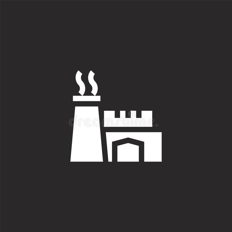 Power plant icon. Filled power plant icon for website design and mobile, app development. power plant icon from filled industry. Collection isolated on black vector illustration