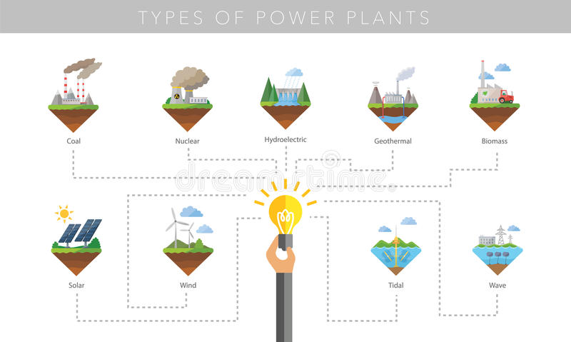Power plant icon vector set stock illustration