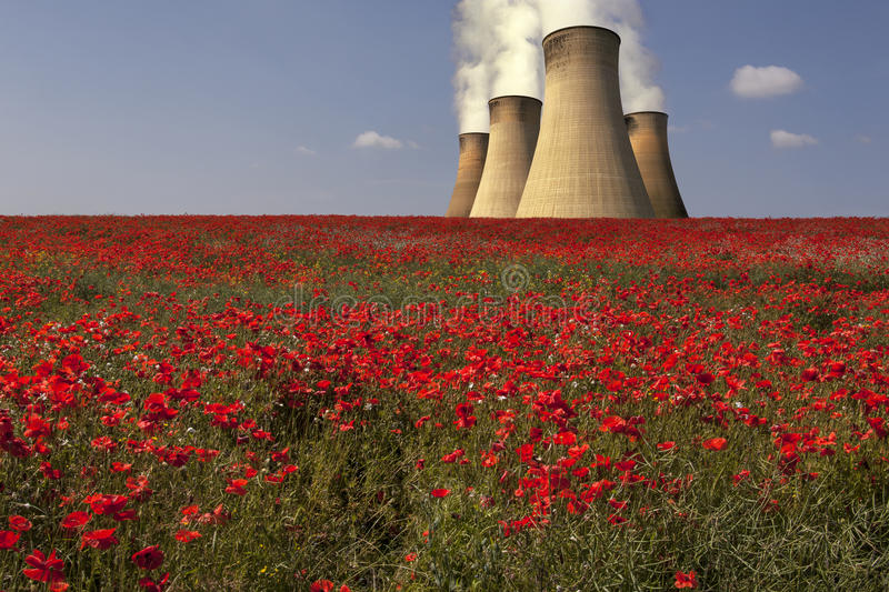 Power Plant - Lincolnshire - England. Cooling towers of a coal-fired power plant in Lincolnshire in the United Kingdom royalty free stock photos