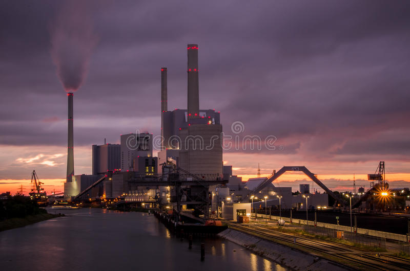 Power plant in Mannheim. Mannheim, Germany - June 25 2016 : View of Power plant in Mannheim, Germany
