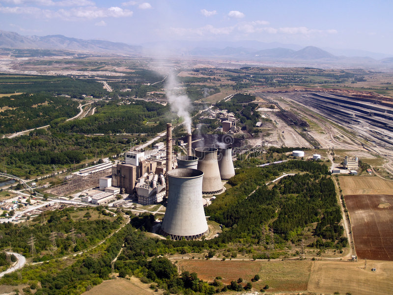 Power plant and mine aerial royalty free stock photo