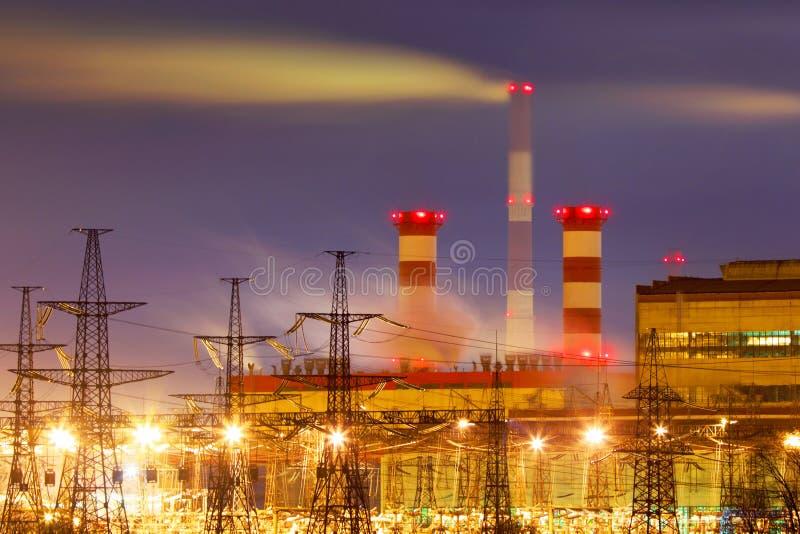 Power plant at night. stock photo