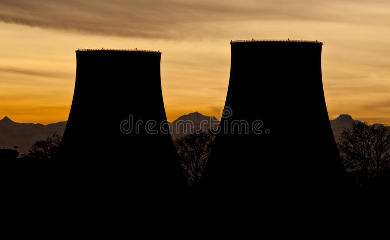 Download Power plant silhouettes stock photo. Image of dusk, generation - 24456434