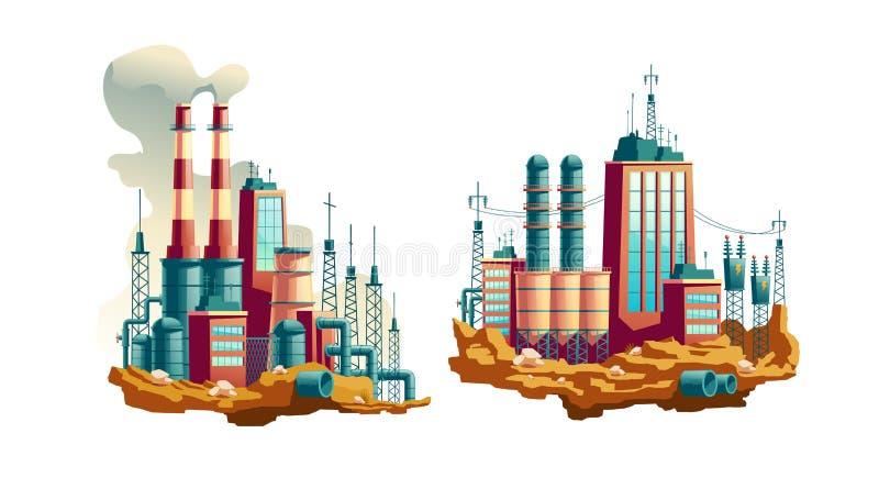 Power Plant Or Station Cartoon Vector Illustration Stock Vector Illustration Of Pipeline Fossil 144436148
