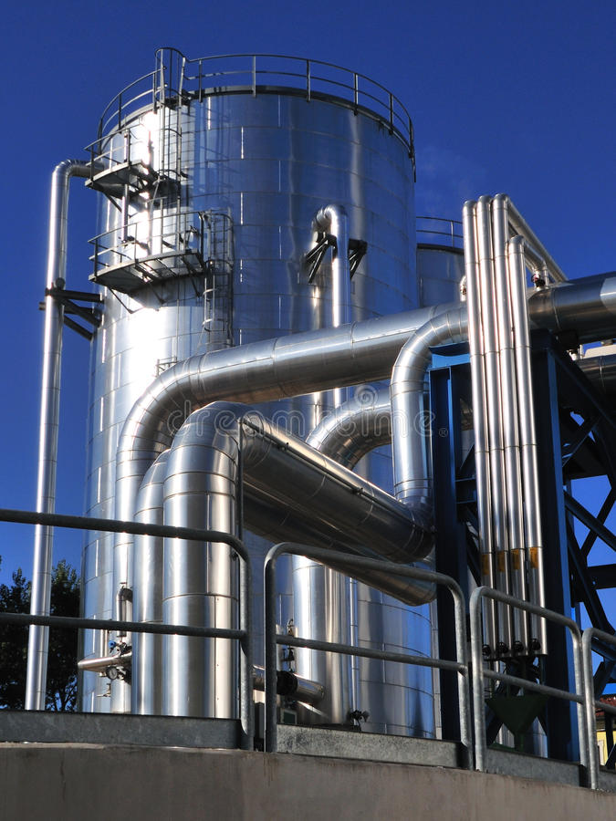 Power plant storage tank royalty free stock images