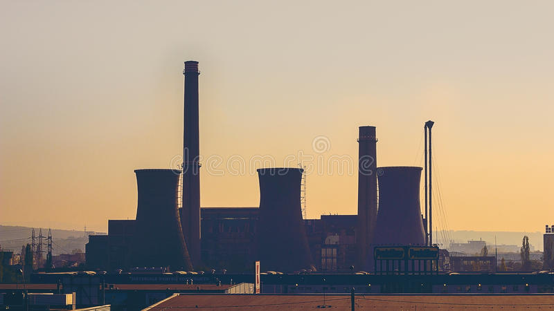 Power plant at sunset stock photos