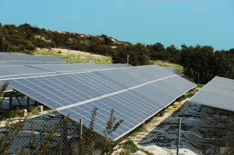 Power plant using renewable solar energy. With sun royalty free stock photo