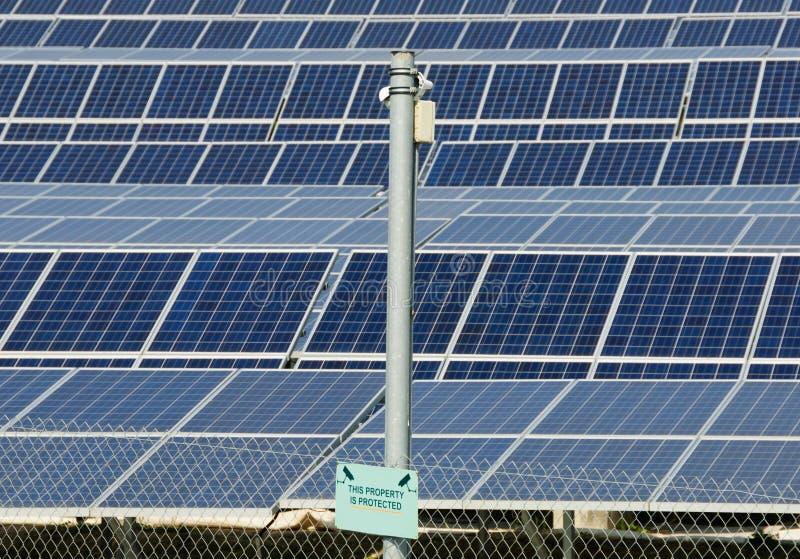 Power plant using renewable solar energy. With sun stock image