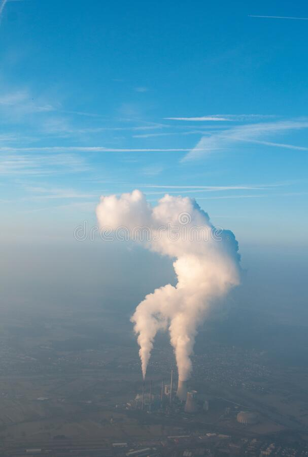 Power plant with clouds stock photo