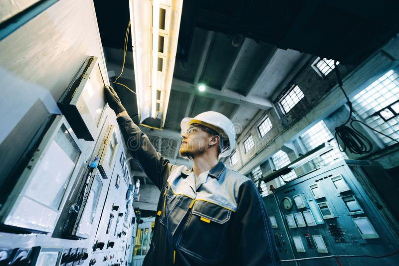 Power plant worker royalty free stock photo