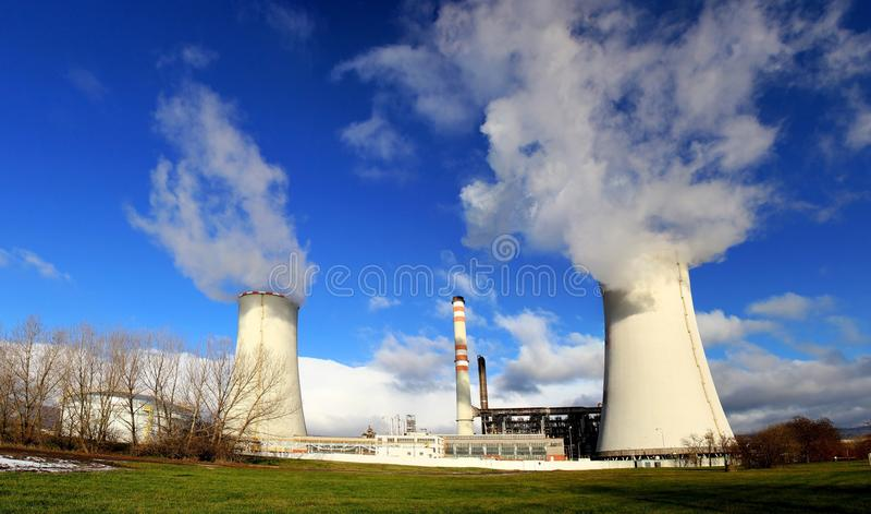 Power plant Zaluzi, Litvinov - Czech Republic. Big cooling towers royalty free stock photo