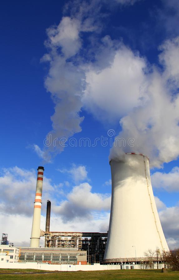 Power plant Zaluzi, Litvinov - Czech Republic. Oil and gas refinery royalty free stock photos