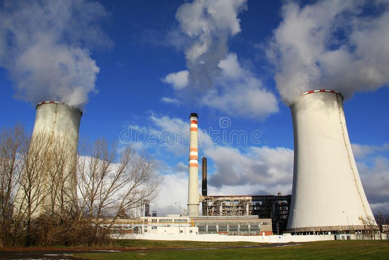 Power plant Zaluzi, Litvinov - Czech Republic. Oil and gas refinery royalty free stock image