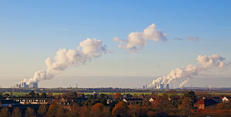 Power plants in the brown coal mine on the Lower Rhine, Germany stock photo