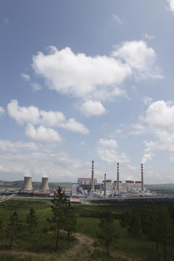 Download Power Plants, Cooling Towers, Chimneys, Grassland Stock Image - Image: 32243243
