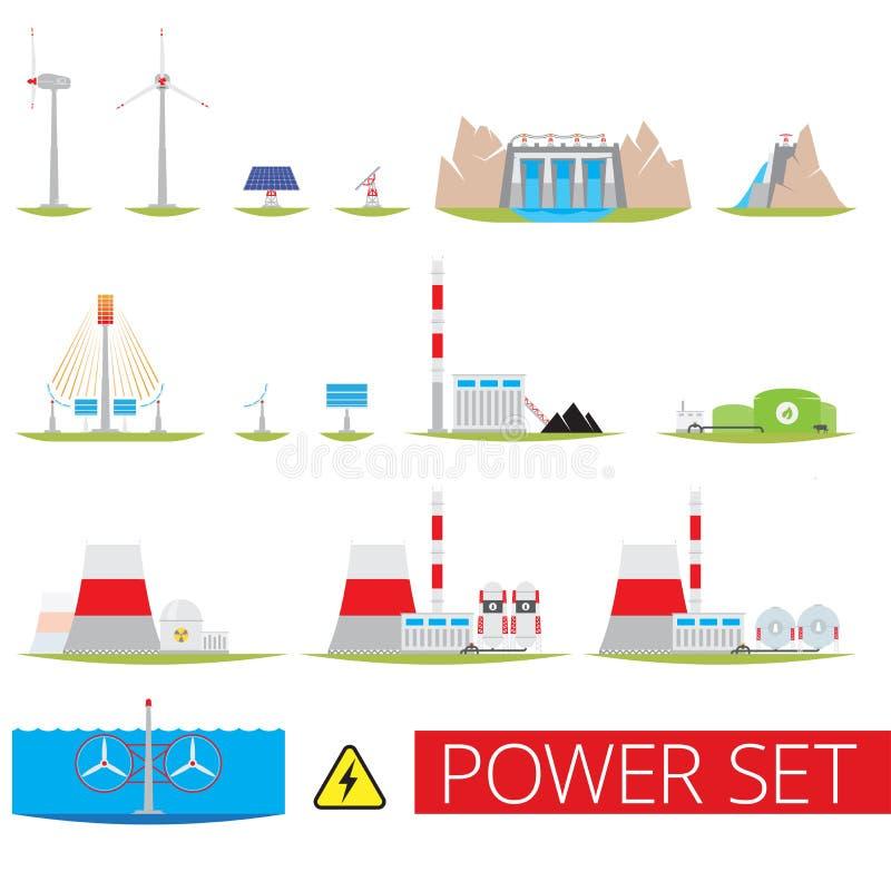 Power plants set royalty free stock photo