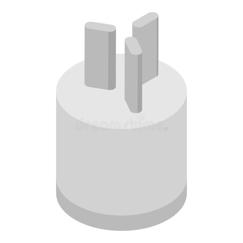 Power plug icon, isometric style royalty free illustration