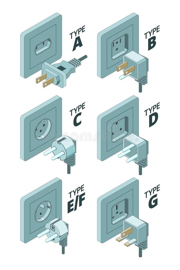Power plug types. Electricity energy box connector meter 3d isometric vector illustrations royalty free illustration