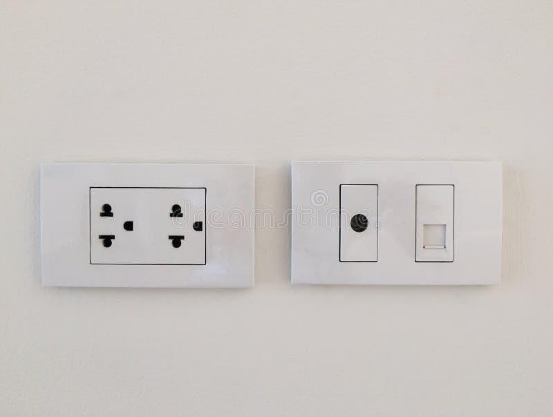 Power plugs on white royalty free stock image