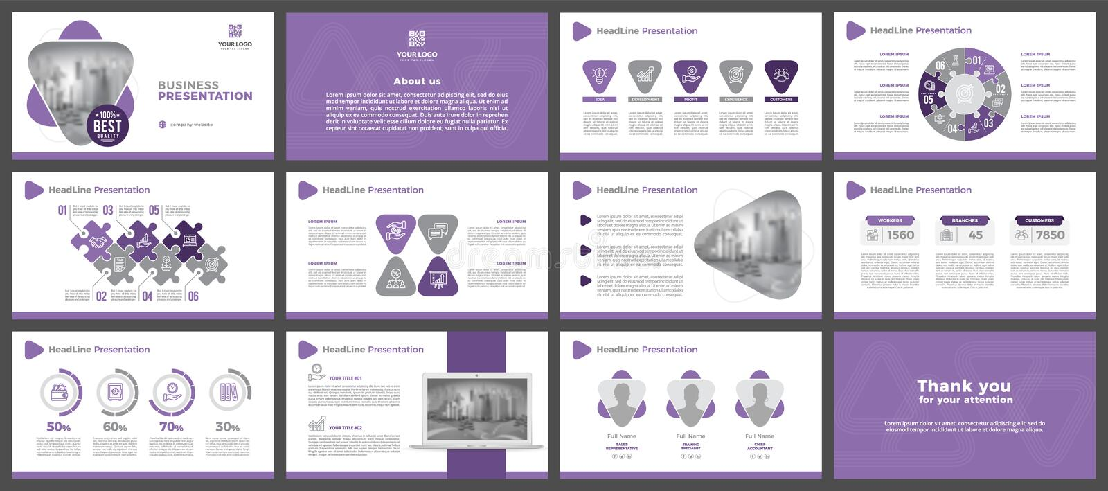 Power Point presentation template. Elements of infographics for presentation templates. Lavender version. Presentation templates, corporate. Elements of vector illustration