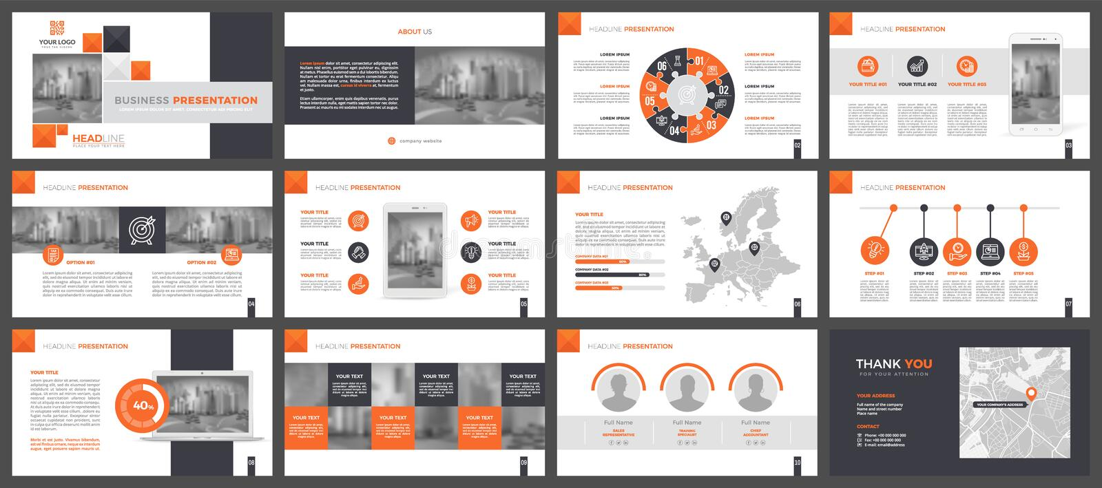 Power Point presentation template. Elements of infographics for presentation templates. Orange version. Presentation templates, corporate. Elements of vector illustration