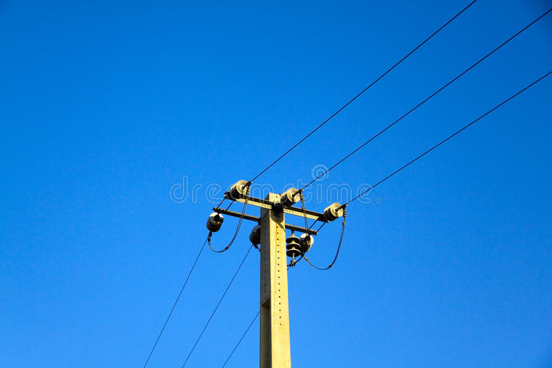 Download Power Pole Against The Blue Sky Stock Image - Image of nature, construction: 13798715