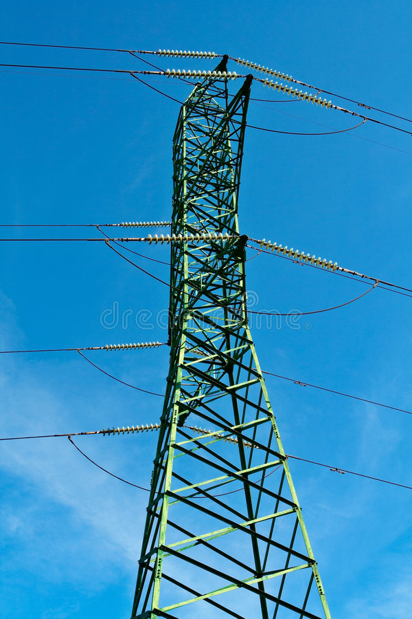 Power pole and cables royalty free stock photography